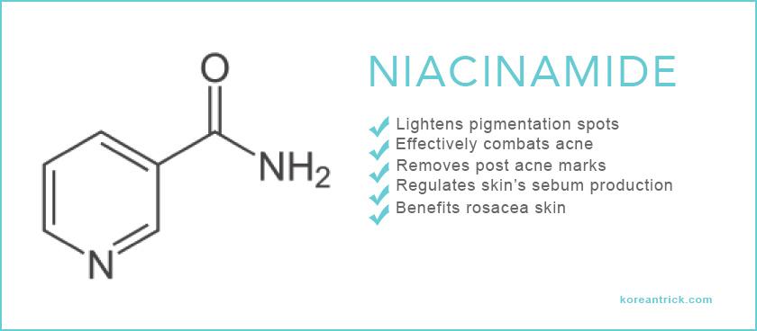 Korean cosmetics with niacinamide